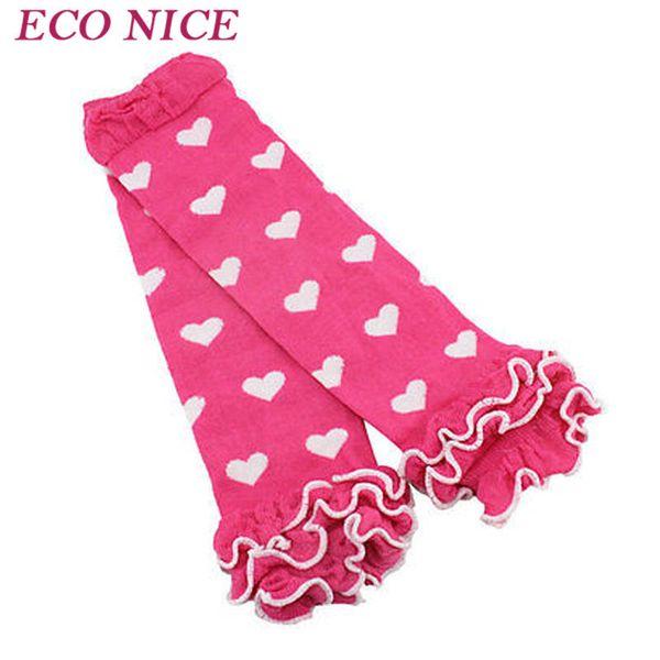 Al por mayor-Baby Girls Boys Rodilla Calentadores de la pierna alta Corazón Patrón Suave de algodón volantes calcetines 029
