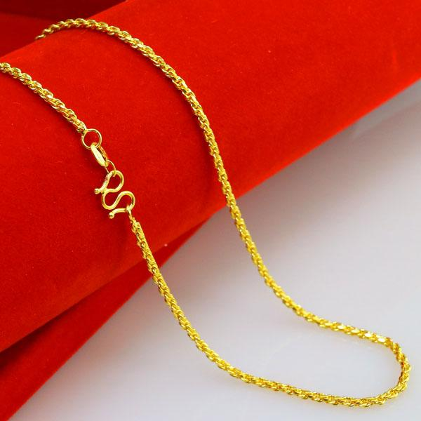 2mm yellow Twist chain bridal necklace, 24k gold plated necklace for 2016 women jewelry suitable for any pendant
