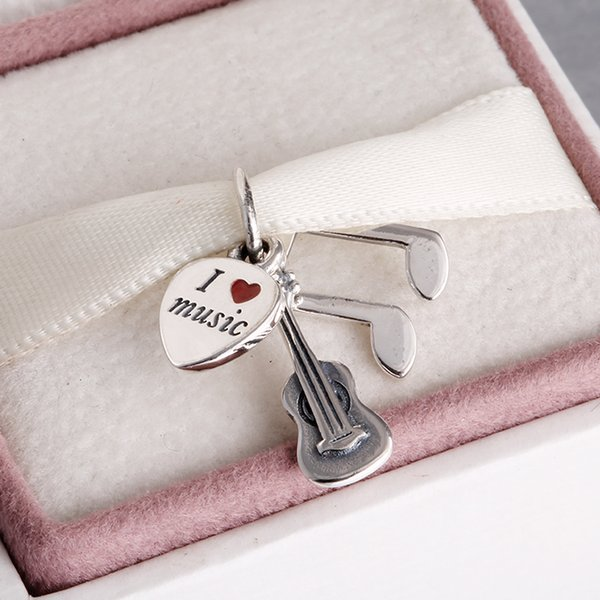 Pandora Armbänder Musik Trinity Dangle mit roter Emaille 925 Ale Sterling Silber Charms lose Perlen DIY Schmuck für Faden Armband FL162