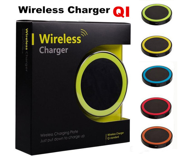 top popular 30pcs S6 Qi Wireless Charger Cell phone Mini Charge Pad For Qi-abled device Samsung nokia htc LG cellphone with retail package JE13 2020