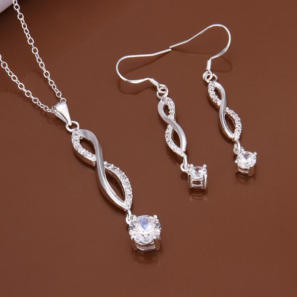 High grade 925 sterling silver '8-word piece - White jewelry sets DFMSS583 brand new Factory direct sale wedding 925 silver necklace earring