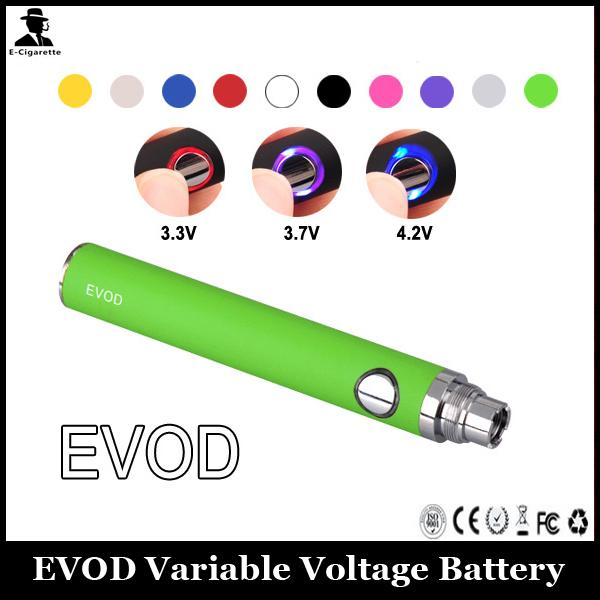 EVOD Battery 650mAh 900mAh 1100mAh Electronic Cigarette Battery Variable Voltage Adjust Voltage By Button For 510 Thread Atomizer