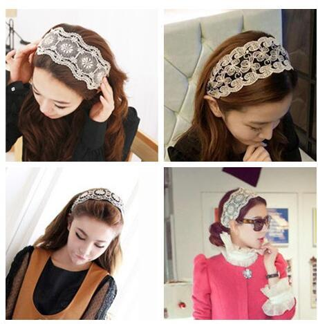 Wholesale 12PCS 5 Colors Classic Wide White Lace Elastic Hairband Embroidery Kniting Women Fashion Headband Hair Accessories