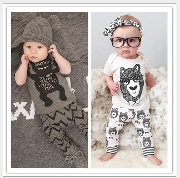 2 Design Baby Pajamas 2016 children summer Cotton INS little monster cartoon Pyjamas short Sleeve + Pants 2 Piece Sets 4sets/lot E144