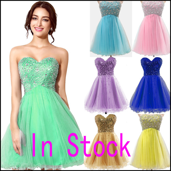 top popular 2019 cheap In Stock Pink Tulle Mini Crystal Homecoming Dresses Beads Lilac Sky Royal Blue Mint Short Prom Party Gowns Cheap Real Image 2019