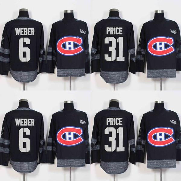 2017 Centennial Klasik 100 Yıldönümü Yama 6 Shea Weber 31 Carey Fiyat Montreal Canadiens Hokeyi Formalar Ucuz