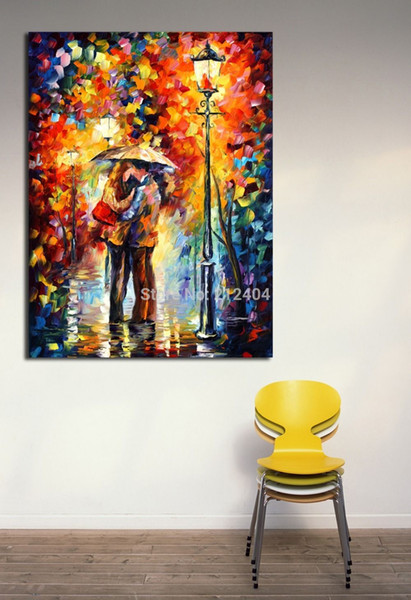 Kiss Under The Rain Palette Knife Oil Painting Lover Night Date Wall Picture Printed on Canvas Mural Art Home Office Cafe Wall Decor