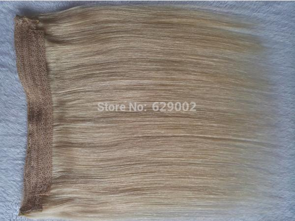 Indian Human Hair No Clips Halo Flip in Hair Extensions, 1pc 100G Color #613 Easy Fish Line Hair Weaving