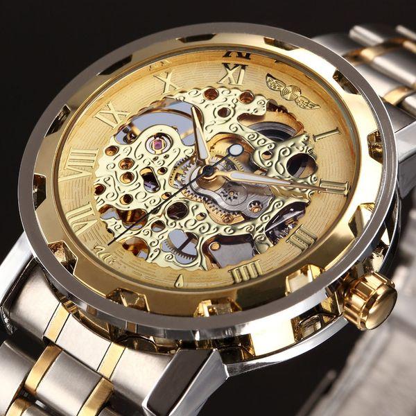 Venta al por mayor-GANADOR de oro hombres reloj mecánico esqueleto acero de acero Stainess Relojes de viento de la mano transparente Steampunk Montre Homme reloj de pulsera