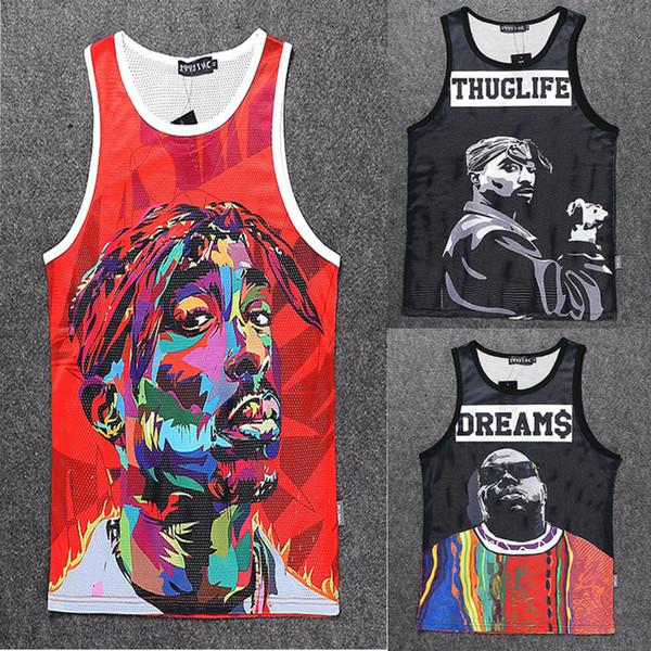 All'ingrosso-2015 New fashion uomo / donna 3D stampa carattere Gilet Tupac 2Pac / Biggie maniche camicie canotta sport estivi Basket Jersey