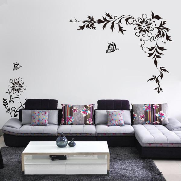Black Butterfly Diagonal Flowers Rattan Wall Art Mural Decor Sticker Sofa TV Background Wall Decal Poster Home Art Wall Applique