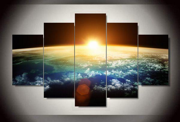 5 Panel Freies verschiffen Heißer Verkauf Sonnenaufgang Moderne Home Decor Leinwand bild Kunst HD Druck Malerei Leinwand Kunst gerahmte kunst F / 454