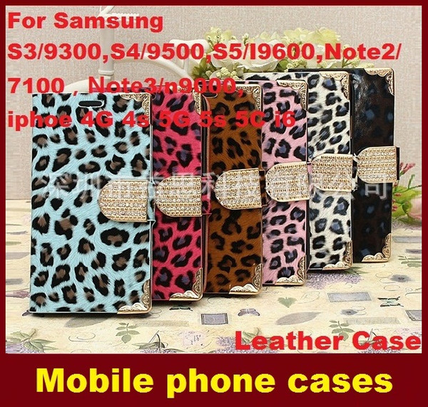 Leather Rhinestones Wallet Flip Case Cover Pouch with Card Slot Holder for SamsungS3 S4 S5 Note2 Note3/n9000,iphoe4G 4s 5G 5s i6 dhl