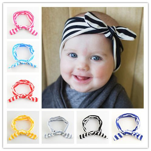 On Sale 11pcs/lot Popular Cute Bunny Ears Headband Elastic Hair Ties Ropes stripe Decorated Rubber Bands Hair Accessories HA0482