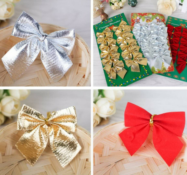 Christmas decorations Christmas tree hang decoration Small bowknot red gold and silver 12 dresses free shipping