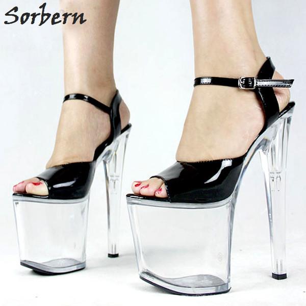 Transparent Toe À Talons Acheter Forme Strap Plate Boucle Ultra 20cm Sandales Femmes Open Haute Pvc Ankle 9cm xdBorWeC