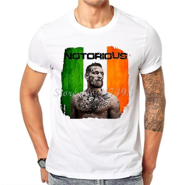 Wholesale- Cotton Men T-shirt Brand Conor Mcgregor Print Fashion Funny T shirt White Short Sleeve O-Neck Tops Casual Tees Hipster JC10