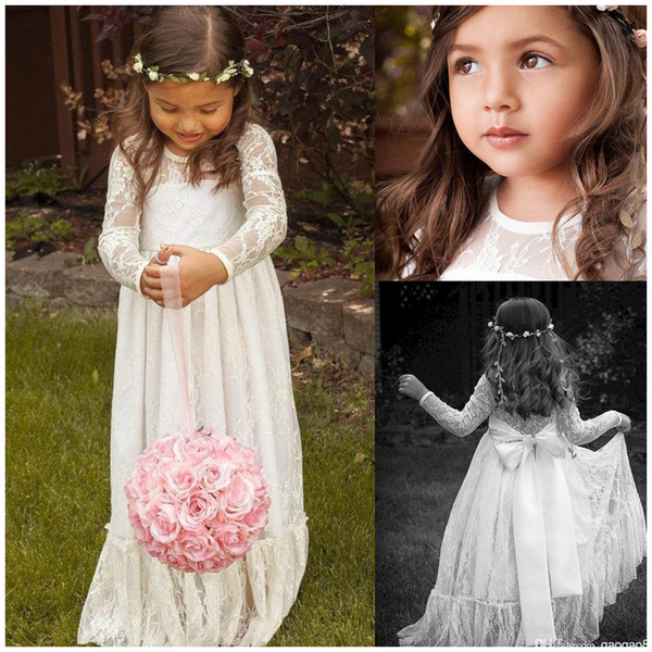 top popular 2019 Lace Long Sleeve White Girl Flower Dresses Bow A line Floor Length Baby Formal Occasion Kids First Communion Birthday Party Skirt Cheap 2021