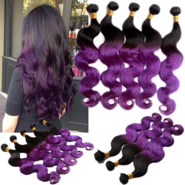 3bundles Ombre Purple Hair Ombre Hair Extensions Two Tone Hair