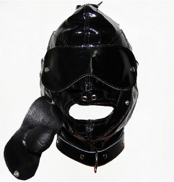 Capuchas de cuero Bdsm Bondage Mask Restricciones de la cabeza del adulto BDSM Bondage Gag boca extraíble Gale Fetish Fantasy Adult Sex Mask Slave