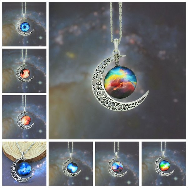 top popular 12 colors Vintage moon necklace starry Moon Outer space Universe Gemstone necklaces pendants Chain jewelry Children Accessories bjd nerf 2019