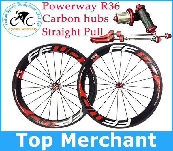 Bazalt fren yüzeyi !! FFWD tekerlekler F6R 60mm tekerlek düz çekme Powerway R36 karbon göbekleri tam karbon yol bisiklet bisiklet tekerlekleri siyah kırmızı