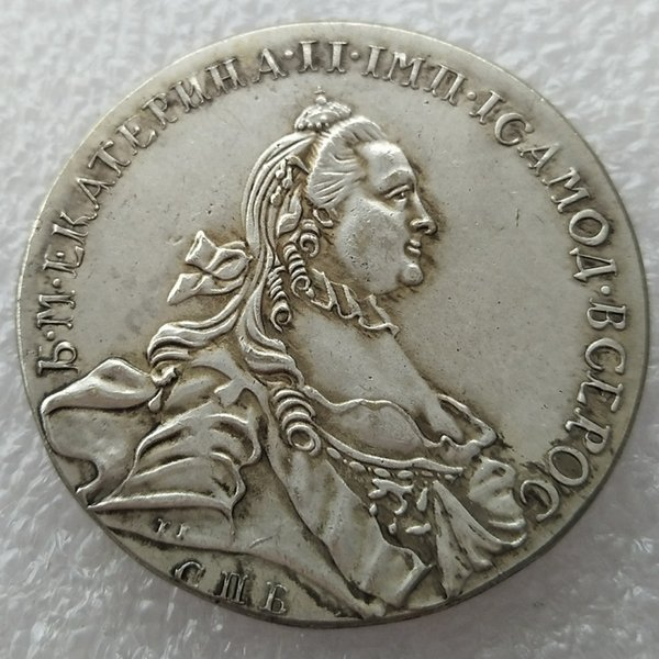 1763 RUSSIA SILVER 1 ROUBLE/RUBLE Coin VF Catherine II KM-C672. St. Petersburg copy coins home Accessories Silver Coins