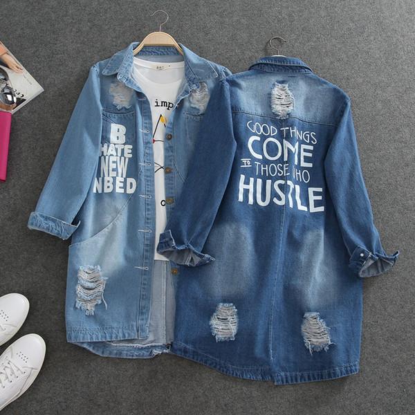 Großhandel-Neue Große Größe Koreanische Frauen Löcher BF Jeans Jacken 2017 Frühling Herbst Denim Mittellange Lose Mantel Zerrissen Für Frauen Kleidung 1172