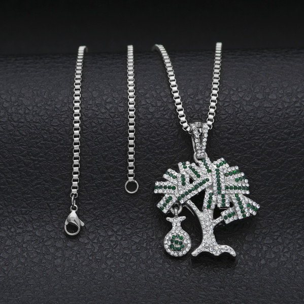New Money USD Bag Tree Hip Hop Dollars Tree Full CZ Iced Out Pendant Necklace with 24inch Cuba/Box Chain Necklace for Men Women Gifts