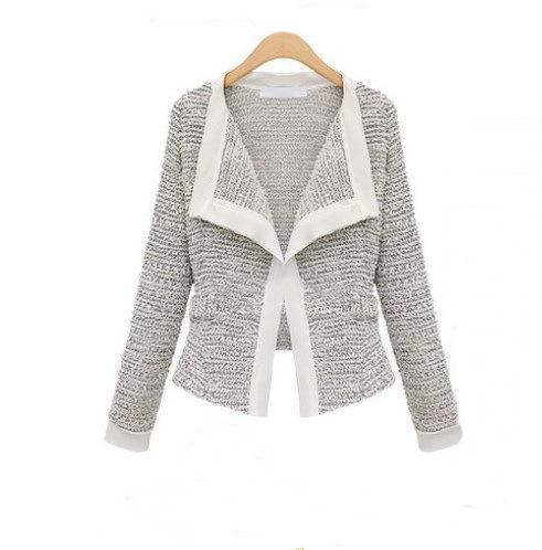 Livraison en gros-gratuit Europe 2015 Automne nouvelle mode femmes vestes manteau de qualité vestes de lin vestes cardigan à manches longues court Vêtements d'extérieur