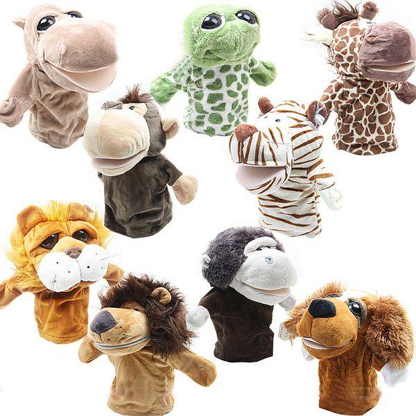 "best selling Fedex DHL Boys Kids Animal Plush cloth Finger Puppets 10"" 25cm Boy Kid animal hand puppets 20 designs U piclk"
