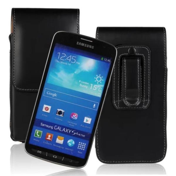 Pochette Ceinture en cuir de haute qualité verticale pour Samsung Galaxy S4 Active i9295 Black Phone Case