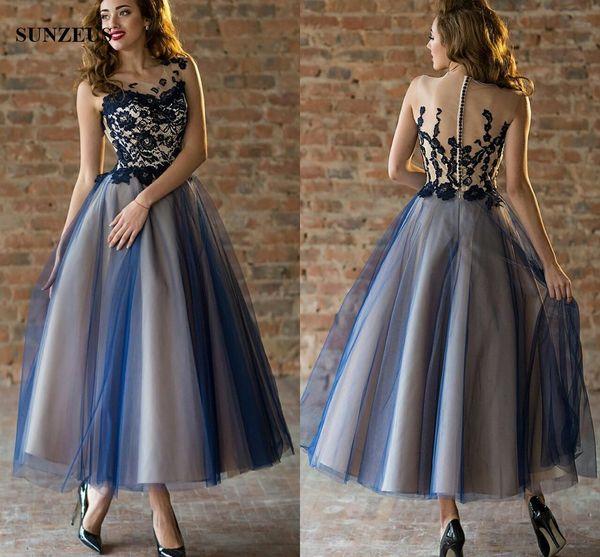 Modelo De Vestido De Festa Tornozelo Comprimento Vestido De Festa A Linha De Ilusão Pescoço Azul Lace Prom Vestidos De Duas Cores Mulheres Vestido