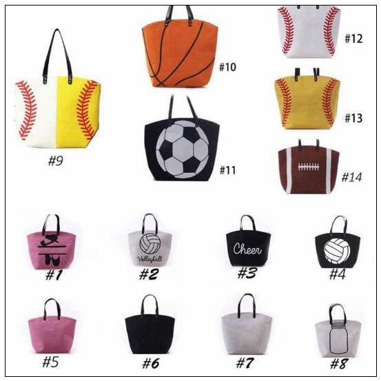 13 estilos Bolsa de lona Bolsa de béisbol Bolsas de deporte Bolsa de softball informal Fútbol Fútbol Baloncesto Bolsa de lona de algodón CCA7889 20pcs