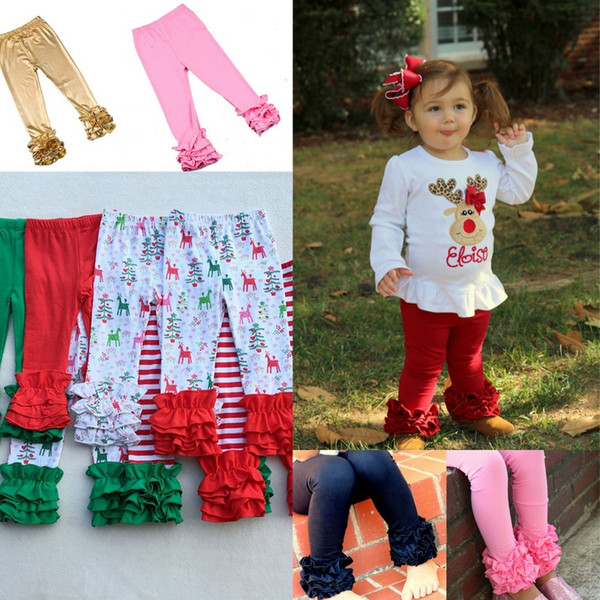 top popular 31 Colors Thanksgiving Halloween Christmas Solid Printed Ruffle Pants Stripe Leggings Baby Hirls Long Pants Warm Trousers 2020