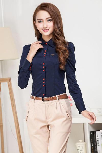 New Fashion Women Elegant Long Sleeve Cotton OL Body Shirt Button Design Dark Blue, White, Wine red S-XXXL Free shipping
