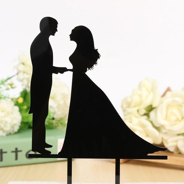 Wholesale-Personalized Wedding Cake Topper Acrylic Custom Name Cake Black Topper Custom Mr & Mrs Bilayer Casamento Structure