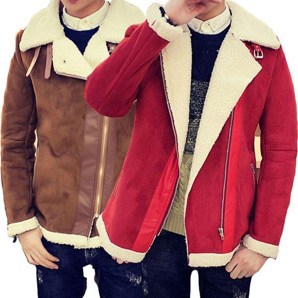 top popular Fall-Shearling Winter Coat Faux Fur Suede Jacket Sid Zip Lamb Wool Mens Sheepskin Coat 2019