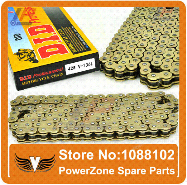 """Motorcycle Motorcross Dirt Pit Bike Parts DID Gold Chain #428 V With """"O"""" Ring Seal 136Links Fit GPX KAYO IRBIS"""