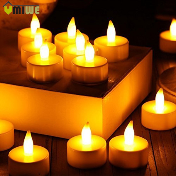 24pcs Yellow Flicker Fake Electronic Candle Droped Cheap Tear Drop Flameless Led Light Battery Operated Pillar Wishing Candles