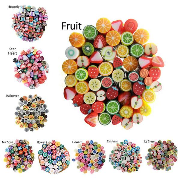 5mm Nail Art Köpekler Fimo 3D Nail Etiketler Dekorasyon, Hot100pcs Polimer Kil Meyve Çiçek Buttefly DIY Nail İpuçları Aksesuarlar