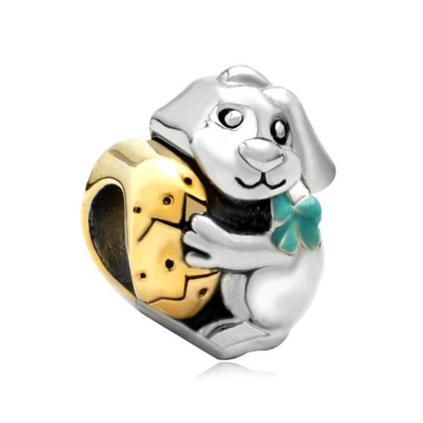 Wholesale Retail Easter Day Bunny Rabbit Holding Egg Charm European bead Fit Pandora Chamilia Biagi Charm Bracelet