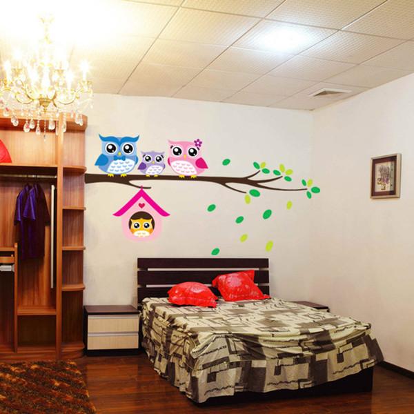 Animal Cartoon Owl Tree Vinyl Wall Stickers for Kids Rooms Home Decor Sofa Living Wall Decals Child Sticker Wallpaper Mayitr