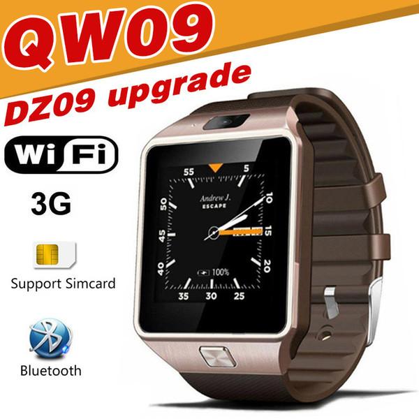 QW09 Smart montre DZ09 mise à niveau de montre pour Android IOS SIM appel téléphonique tactile Bluetooth Smartwatch 3G WIFI montre étanche alarme de 5 m caméra A1