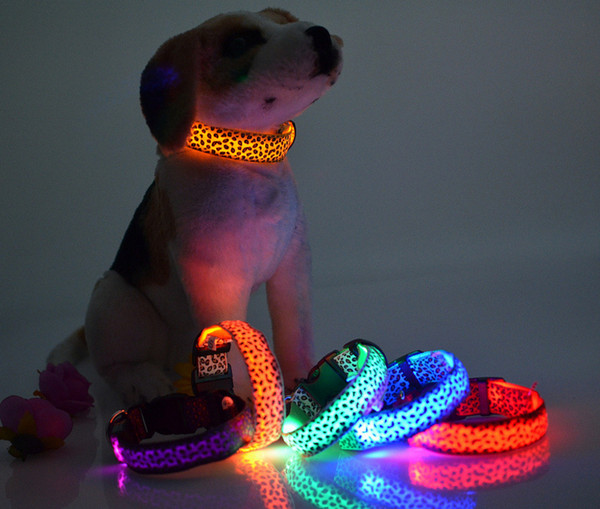 hot sell Leopard spots Pet Dog Collar Leopard Nylon Safety LED Collar Flash Light Necklace For dog