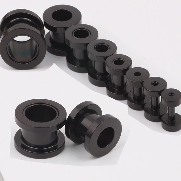 best selling 100pcs lot mix 2-10mm stainless steel screw black ear plug flesh tunnel piercing body jewelry