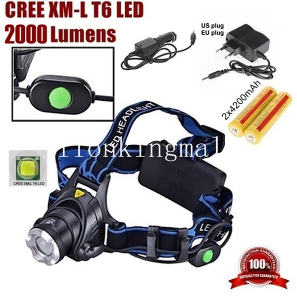 A88 CREE XM-L XML T6 LED 2000 Lumens Zoomable Rechargeable LED Headlight / Headlamp CREE + 2x18650 Battery +AC Charger+car charger