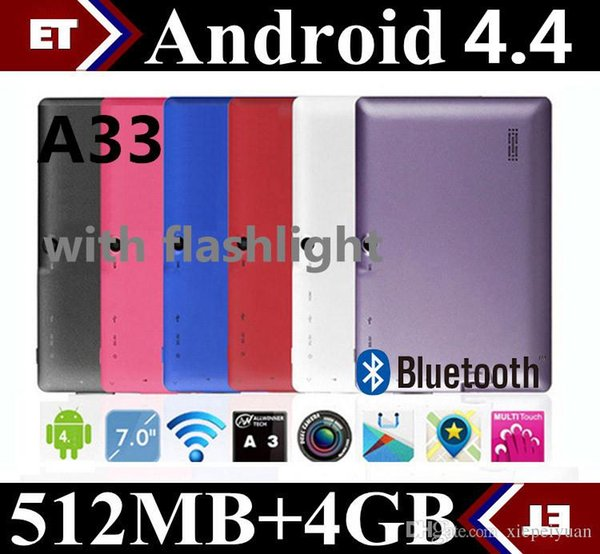 best selling 7 inch A33 Quad Core Tablet Allwinner Android 4.4 KitKat Capacitive 1.5GHz 512MB RAM 4GB ROM WIFI Dual Camera Flashlight TA2