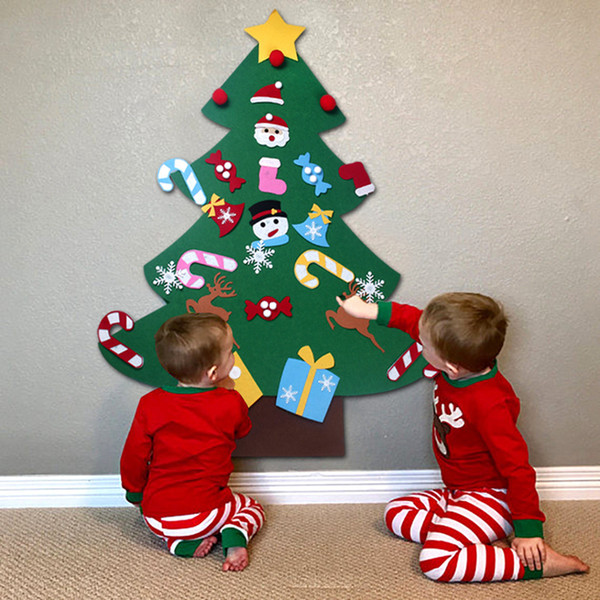 Christmas Home Decor 2019.2019 Kids Diy Felt Christmas Tree Decorations Xmas Hanging Ornaments Home Decor Happy New Year 2018 Children Christmas Gift From Free Life03 8 94