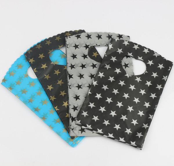 200 unids / lote 9x15 cm 4 colores negro gris cielo azul con patrón de estrellas bolsa de plástico bolsas de regalo bolsas de la joyería